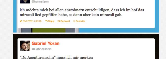 Das Miracoli-Lied und der Agenturensohn: Die besten Tweets im Juni und Juli 2014